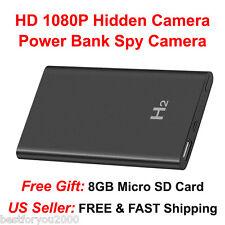 1080P HD Hidden Camera Power Bank Hidden Spy Camera Camcorde + 8GB Micro SD Card