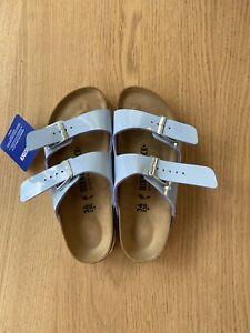 Birkenstock Arizona Narrow Sandals Shoe Women's Patent Dove Blue Size 36 UK3 NEW