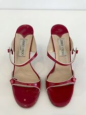 JIMMY CHOO LONDON RED AND WHITE PATENT LEATHER SLIDE SANDAL SHOES SIZE 8