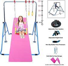 Jungle Kids Monkey Horizontal Kip Bar Blue + 6' Gymnastic Mat + Swing & Trapeze