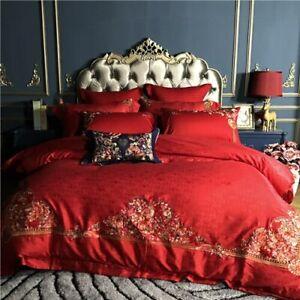 Cotton Satin Jacquard Bedding Set Red Bed Sheet Duver Cover Pillowcas King Queen