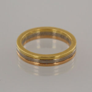 Cartier Band Ring - 18ct Yellow White & Rose Gold Band Ring Size EU 47 UK I
