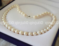 9-10MM PERFECT WHITE ROUND SOUTH SEA PEARL NECKLACE  Tibetan Silver JN467