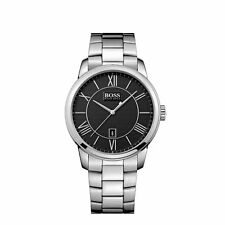 New Hugo Boss Mens HB1512977 Silver/Black Classic Designer Watch - UK Seller