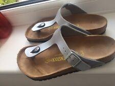 Womans Birkenstock Gizeh Toe Post Sandals Silver UK 4 / 37 240 L6 M4 Ex Con