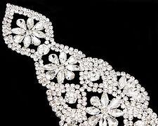 strass pour Mariée Argent diamante de cristal motif mariage 220mm x 65mm patch