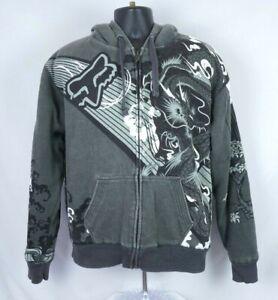 FOX RACING Sasquatch Fur Lined Jacket Zip Up Heavy Hoodie Men's Motocross Large