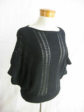 A/X ARMANI EXCHANGE size S Black Cotton/Linen/Silk Batwing Knit Top