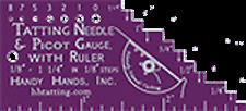 "Handy Hands Tatting Needle & Picot Gauge from 1/8"" to 3"" in 1/8"" Steps - Grape"