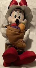 Fall Holiday Thanksgiving Disney 24 in Tall Minnie Mouse Pilgrim Greeter. Used.