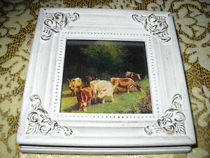 6 COWS 4 1/4X 4 1/4tiny standing wood frame a Victorian style art print