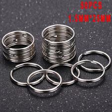 50PCS Polished Silver Key Holder Split Ring Keyrings Key Chain Hoop Loop lxJ J/