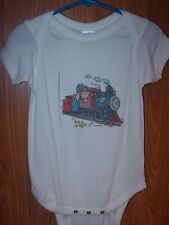 24 Month Infant creeper one-piece White Train with extra line on left side