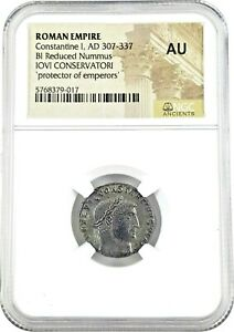 Roman Emperor Constantine The Great Coin Jovi Conservatori NGC Certified AU