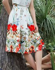 Calf Length Polyester Floral Plus Size Skirts for Women