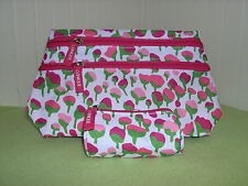 New Clinique Pink Fuchsia Flower Cosmetic Makeup Bag with 2 Zips + Small Bag