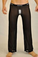 Pantalon pyjama sheer taille XL noir totale transparence sexy Ref M02