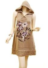 Women Boho English Knit Stitches Fringe Hem Hooded Tunic Top Sweater Dress S M L