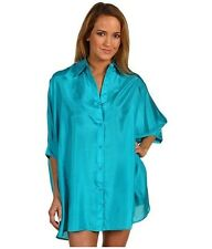 Michael Kors South Hampton silk Button Front CoverUp Tile Blue size medium/large