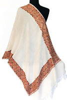 Crewel Embroidered Wool Shawl. Rose Gold Embroidery on White. Kashmir Ari Stole,