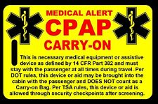 Safety Yellow Carry-On CPAP  Bag Tag - TSA - CPAP BiPAP APNEA POC