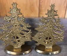Lot Of 2 6� Vintage Solid Brass Christmas Tree Candle Holder Made in India