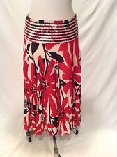 WOMEN'S SANDY STARKMAN SIZE SMALL DROP WAIST BLACK, WHITE, AND RED FLORAL SKIRT