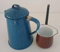 Vintage Blue Speckled  Enamel Camping Coffee Pot and Ladle Pour Spout