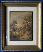 Antique 19th C. Untitled Europe Landscape Watercolor Unsigned and Well Framed