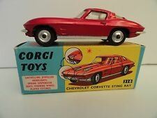 CORGI TOYS #310 CHEVROLET CORVETTE  STING RAY BPW In Box