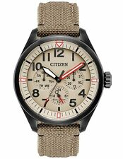 Citizen BU2055-08X Mens Eco-Drive Tan Nylon Chronograph Day/Date Watch
