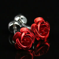 2pcs Red Rose Floral Flower Mens Cuff Link Formal French Wedding Groom Cufflinks