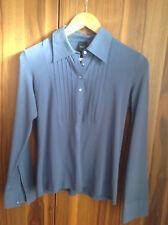 Esprit Business Bluse Baumwolle Gr. 40 L Blau mit Biesen