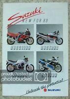 SUZUKI MOTORCYCLES RANGE Sales Brochure For 1989 RGV250 GSXR1100 GSXR750 RG500
