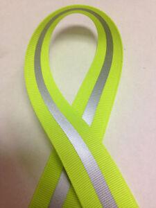 """7/8"""" Neon Lime - 1/4"""" 3M Silver Reflective Stripe Grosgrain Ribbon"""