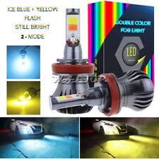 H11 H8 H9 LED Fog Light Bulbs 3K Yellow + 8K Ice Blue Dual Color w/ Flash Mode