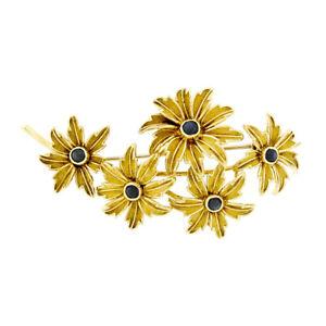 Vintage Tiffany & Co. 18k Gold Cabochon Sapphire Multi Flower Bouquet Brooch Pin