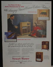 1947 Stewart-Warner Radio Phonograph Stereo Sonic Tone System print ad