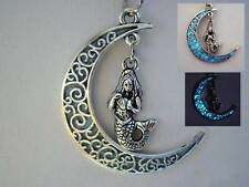 Glow In The Dark Crescent Moon Mermaid Tears Necklace US Seller Ready to Ship!