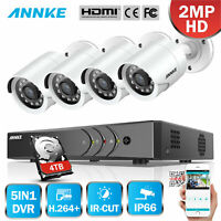 ANNKE 1080P HDMI HD-TVI 4CH DVR Outdoor Home Security IR Bullet Camera System