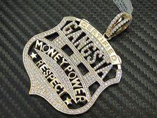 Money Power Respect Gasta Pendant 925 Silver Gold Finish Simulated Diamond