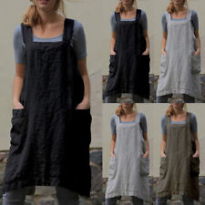 Women Sleeveless With Pocket Home Cooking Baking Bib Apron Solid Cotton Linen