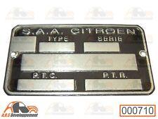 PLAQUE d'identification vierge NEUVE pour Citroen 2cv - 000710 -