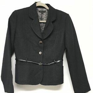 Tahari Size 6 Black Blazer Jacket Wool Blend Crepe Belted Fitted