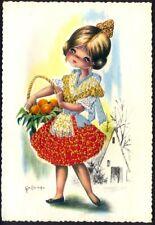 Embroidered Postcard: Spanish Girl Selling Oranges (ref: Valencia # 5). FreePost