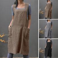 Damen Mode Vintage U-Hals Lose Lässig Bequem Midikleid Baumwolle Leinen Kleid