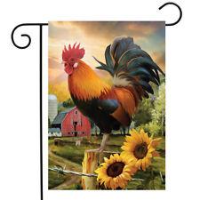 """Fancy Rooster Summer Garden Flag Dawn Farm Barn 12.5"""" x 18"""" Briarwood Lane"""
