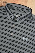 FL KEYS Under Armour Medium Men Leaderboard Stripe Polo HeatGear Golf Shirt Gray