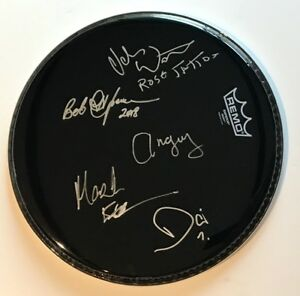 Rose Tattoo group signed drumhead angry anderson mark evans ac/dc autographed