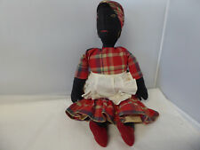 "14"" Vintage Black African American Cloth Rag Doll~Stitched Eyes"